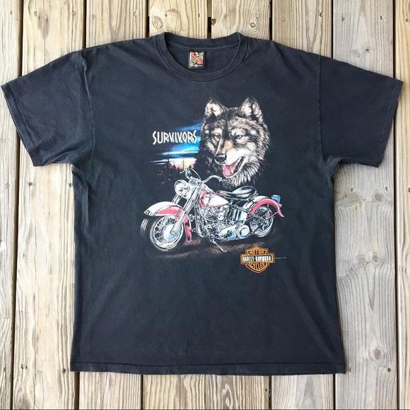 Vintage 3D emblem Harley Davidson Survivors T-shirt